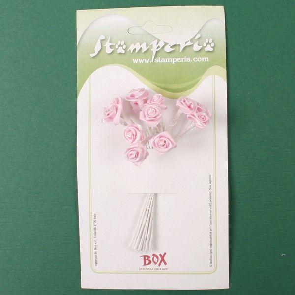 Kytice růžiček ze saténu (12ks) světle růžové SCRAPBERRYS