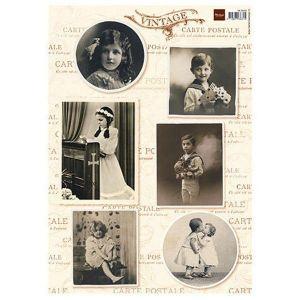 Fotoobrázky Vintage - List A4 děti č.1 slavnostně