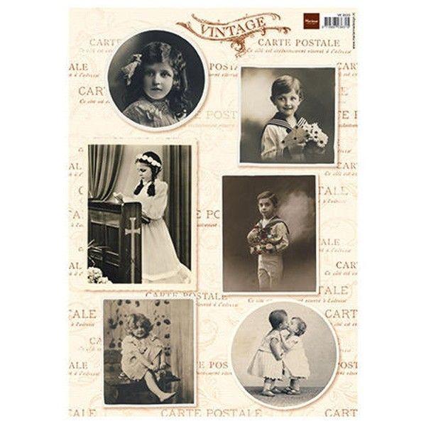 List A4 Fotoobrázky Vintage - List A4 děti č.1 slavnostně Marianne Design