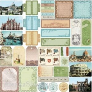 Oboustranný papír na scrapbook (1ks) Discover Italy - Bella Italia
