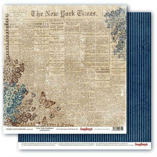 Oboustranný papír na scrapbook ScrapBerry´s New York Headlines vyšší gramáže 190 gsm SCRAPBERRYS