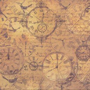 Oboustranný papír na scrapbook Steampunk hodiny