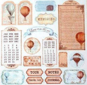 Oboustranný papír na scrapbook Visačky s balonem