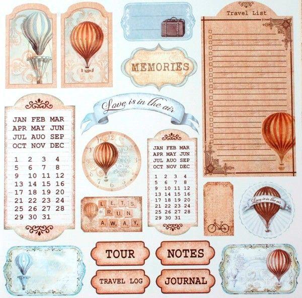 Oboustranný papír na scrapbook Visačky s balonem STAMPERIA