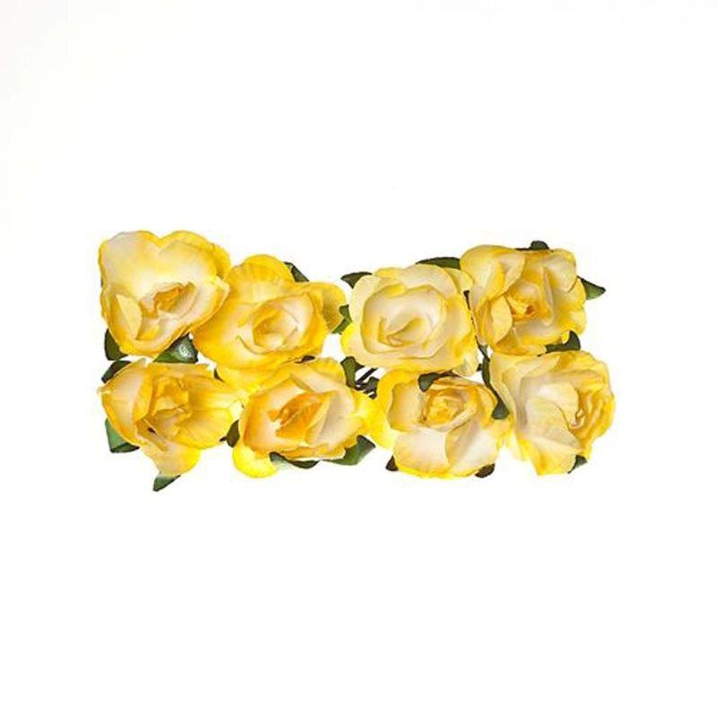 Papírové květiny Růžička (8ks) světle žlutá SCRAPBERRYS