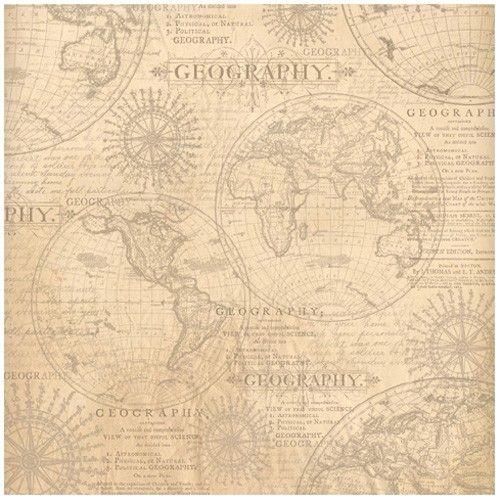 Rýžový papír na decoupage 50x50cm Geografie STAMPERIA
