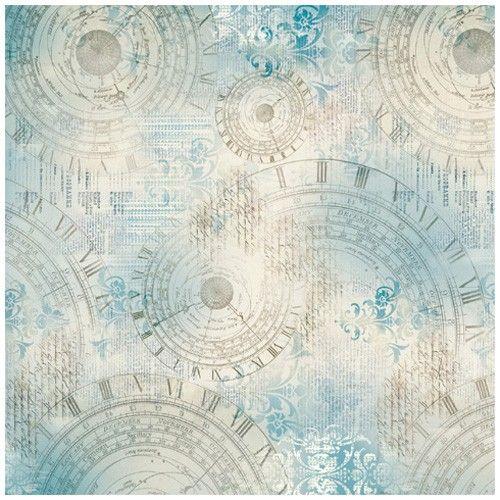 Rýžový papír na decoupage 50x50cm Světle modrý s hodinami STAMPERIA