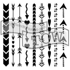 "Šablona 6""x6"" , Arrows and Hearts, mini"