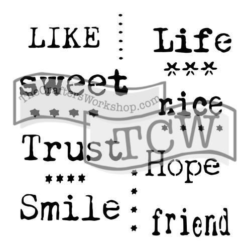 "Šablona 6""x6"" , Life words, mini TCW"