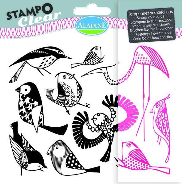 Sada gelových razítek od francozské firmy Aladine StampoClear, Ptáčci