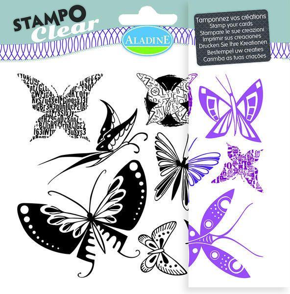 Sada gelových razítek od francozské firmy Aladine StampoClear, Motýlci