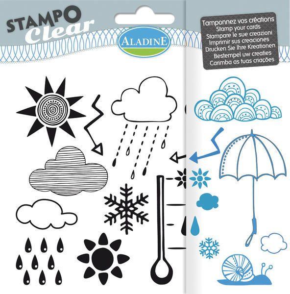 Sada gelových razítek od francozské firmy Aladine StampoClear, Počasí