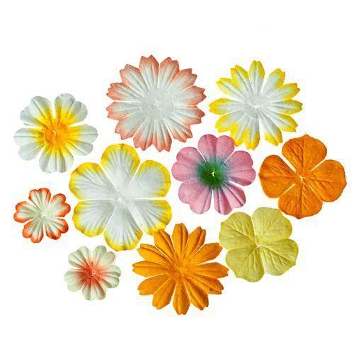 Sada mini dekoračních papírových květin - žluto-oranžové (10ks) SCRAPBERRYS