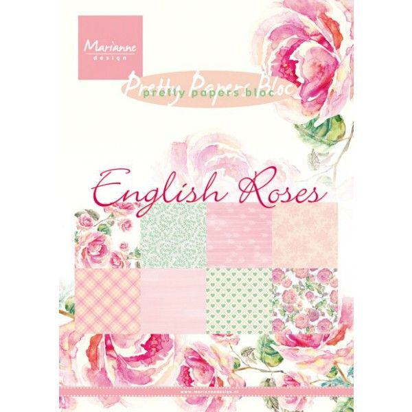 Sada papírů na scrapbooking English Roses, A5 - 8 ks Marianne Design
