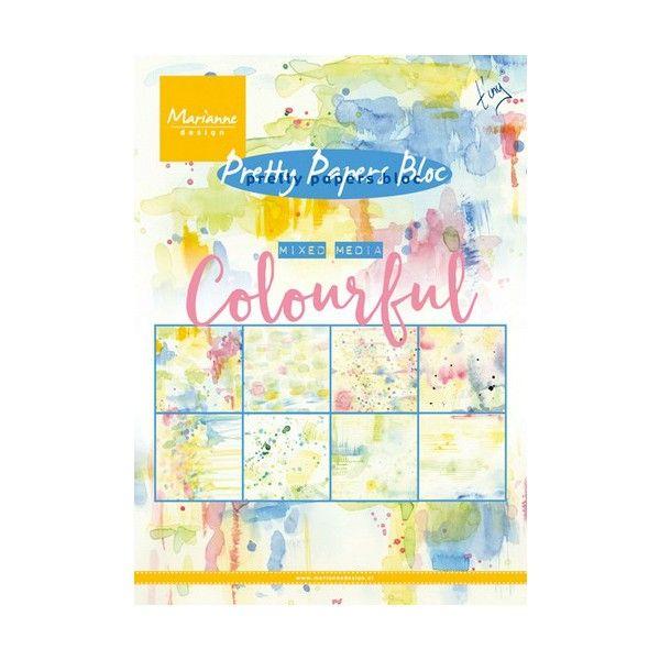 Sada papírů na scrapbooking Marianne Design - Colourful, A5 - 8 ks