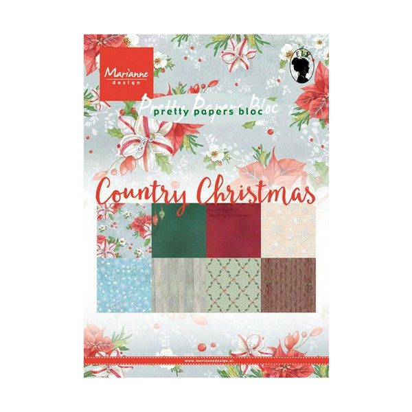 Sada papírů na scrapbooking Marianne Design - Country Christmas 2, A5 - 8 ks