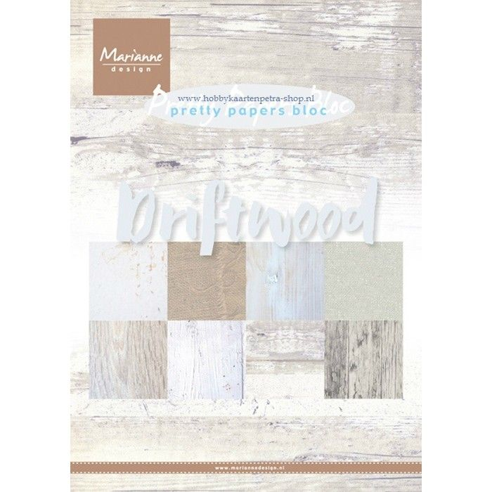Sada papírů na scrapbooking Marianne Design - Driftwood A5 - 8 ks
