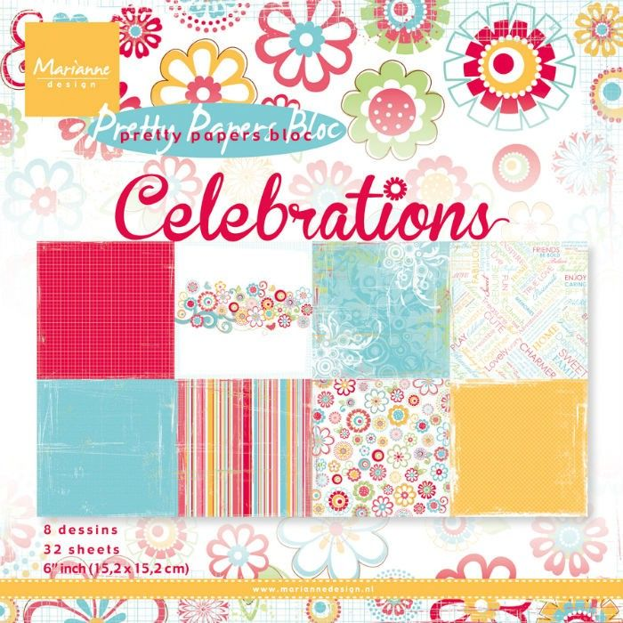 Sada papírů na scrapbooking Marianne Design - Pretty papers bloc Celebrations 15x15cm