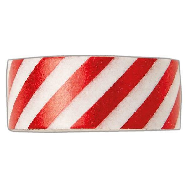 Samolepicí papírová washi páska červeno bílá 1,5 cmx5 m DOCRAFTS PAPERMANIA