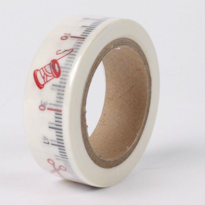 Samolepicí papírová washi páska krejčovský metr 1,5cmx10m SMT CREATOYS