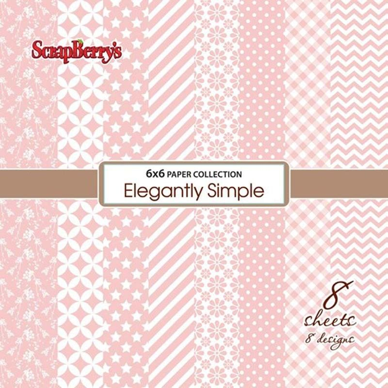 Set papírů (8ks) 190g/m2 - Elegantly Simple - Rose Quartz SCRAPBERRYS