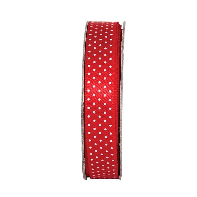 Stuha saténová puntík rudá (3m), na scrapbooking, cardmaking, zdobení na bloky, přání, alba a stránky Anita´s