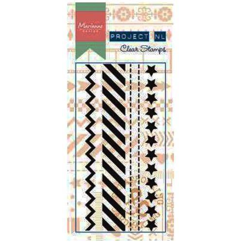 Transparentní razítka - hvězdy a dekorace krajové (4ks) Marianne Design