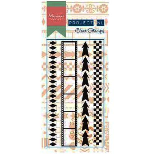Transparentní razítka - šipky a dekorace krajové (4ks) Marianne Design