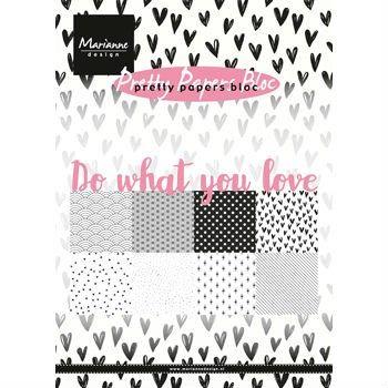 Sada papírů na scrapbooking Marianne Design - Do what you love, A5 - 8 ks