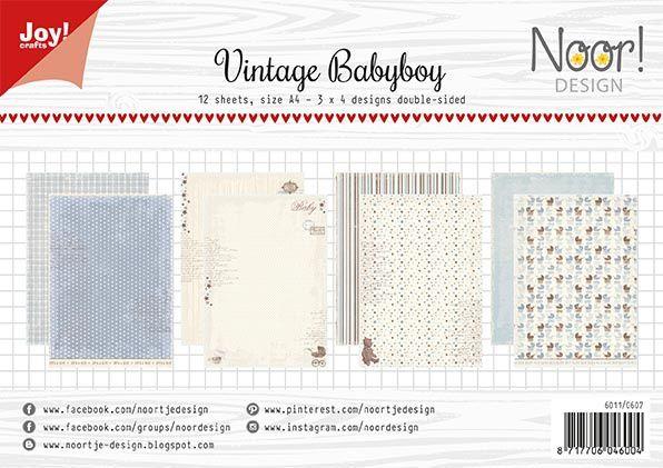 Sada papírů na scrapbooking - oboustranných papírů A4 Vintage Babyboy JOY CRAFTS