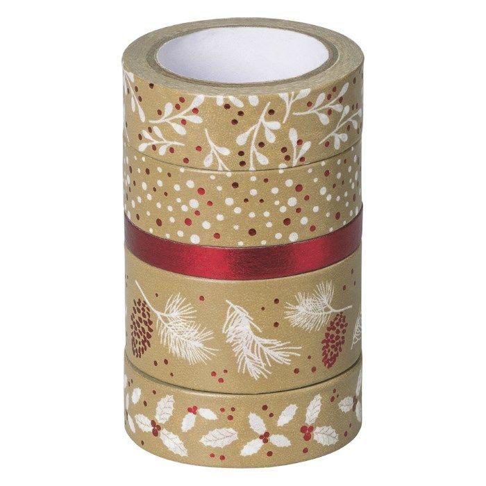 Samolepicí papírová washi páska sada - Vánoce červené (5ks) HEYDA